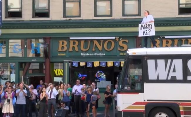 Marriage Proposal On Top Of A Bus