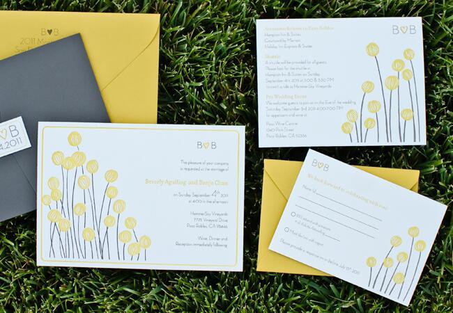 Yellow & Gray Billy Ball Invitations  <img class=