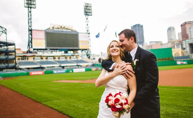 Baseball Stadium Bride & Groom Portraits | Carolyn Scott Photography | Blog.theknot.com