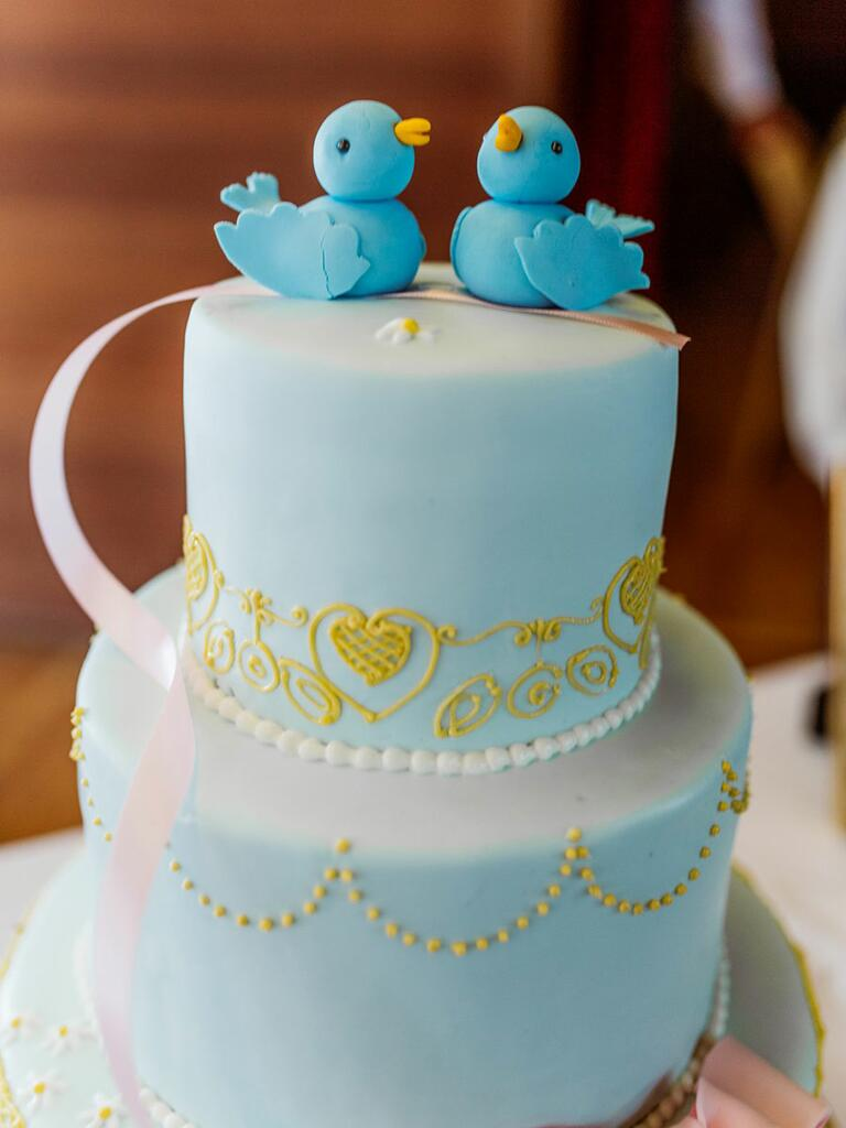 Cinderella inspired blue wedding cake
