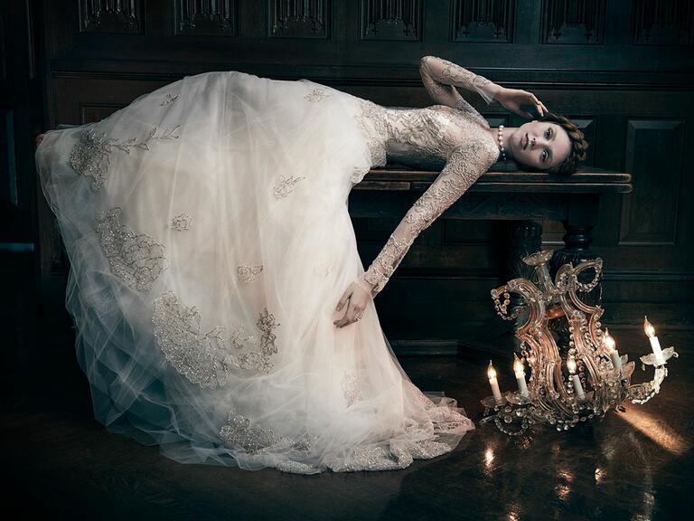 Metallic beaded wedding dress by Monique Lhuillier