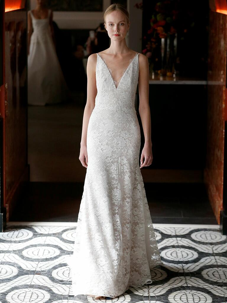 Lela Rose Spring 2018 lace trumpet wedding dress with plunging neckline