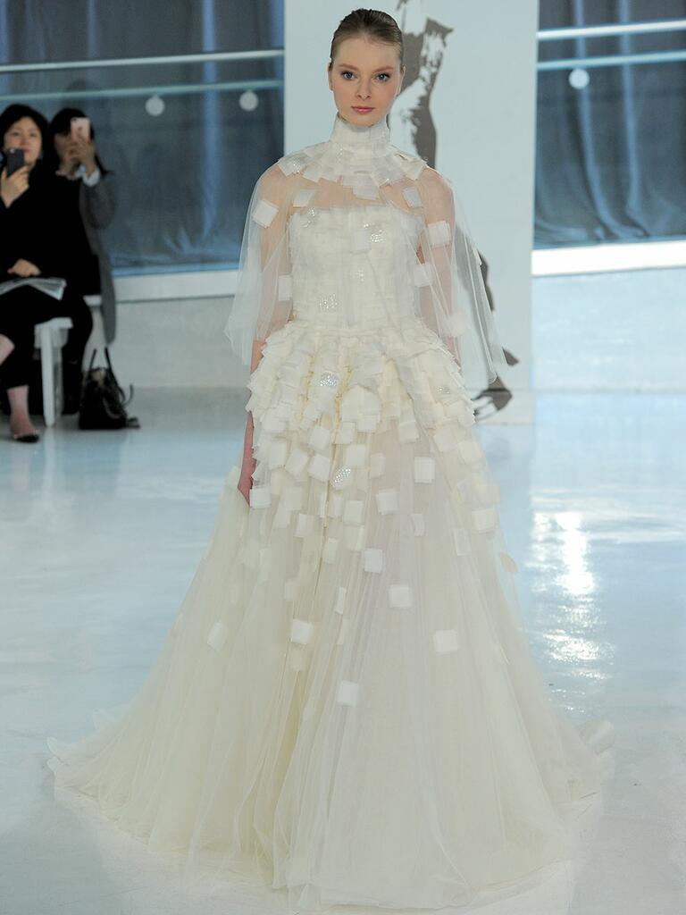 Peter Langner Spring 2018 A-line wedding dress with geometric peplum