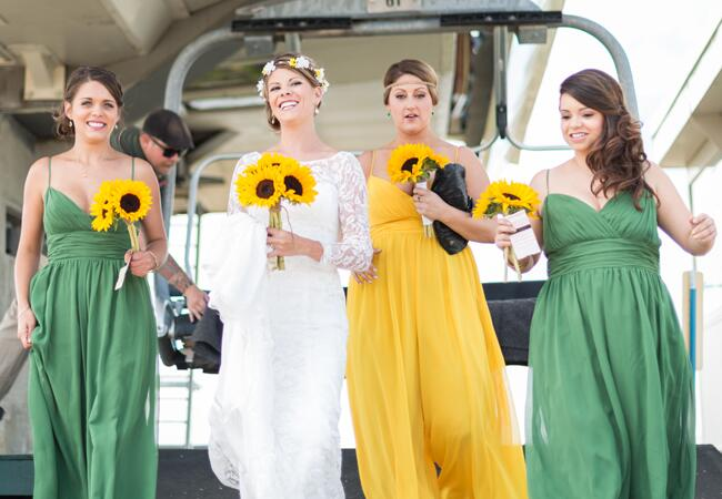 Yellow and green bridesmaid jumpsuits