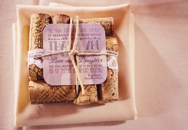 Wedding decor with wine corks: Our Two Hearts Photography / TheKnot.com