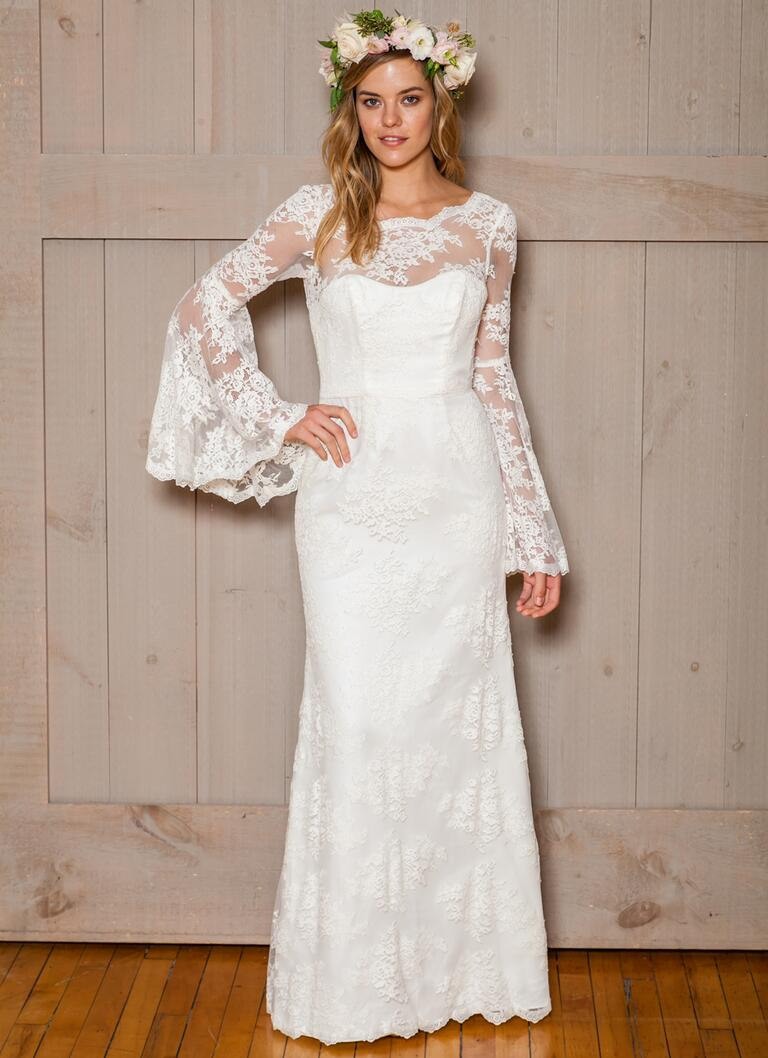 David's Bridal Fall 2016 bell sleeve lace overlay wedding dress with sweetheart neckline