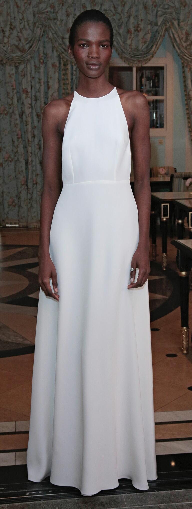 Delphine Manivet Spring 2017 column wedding dress with natural waist and high halter neckline