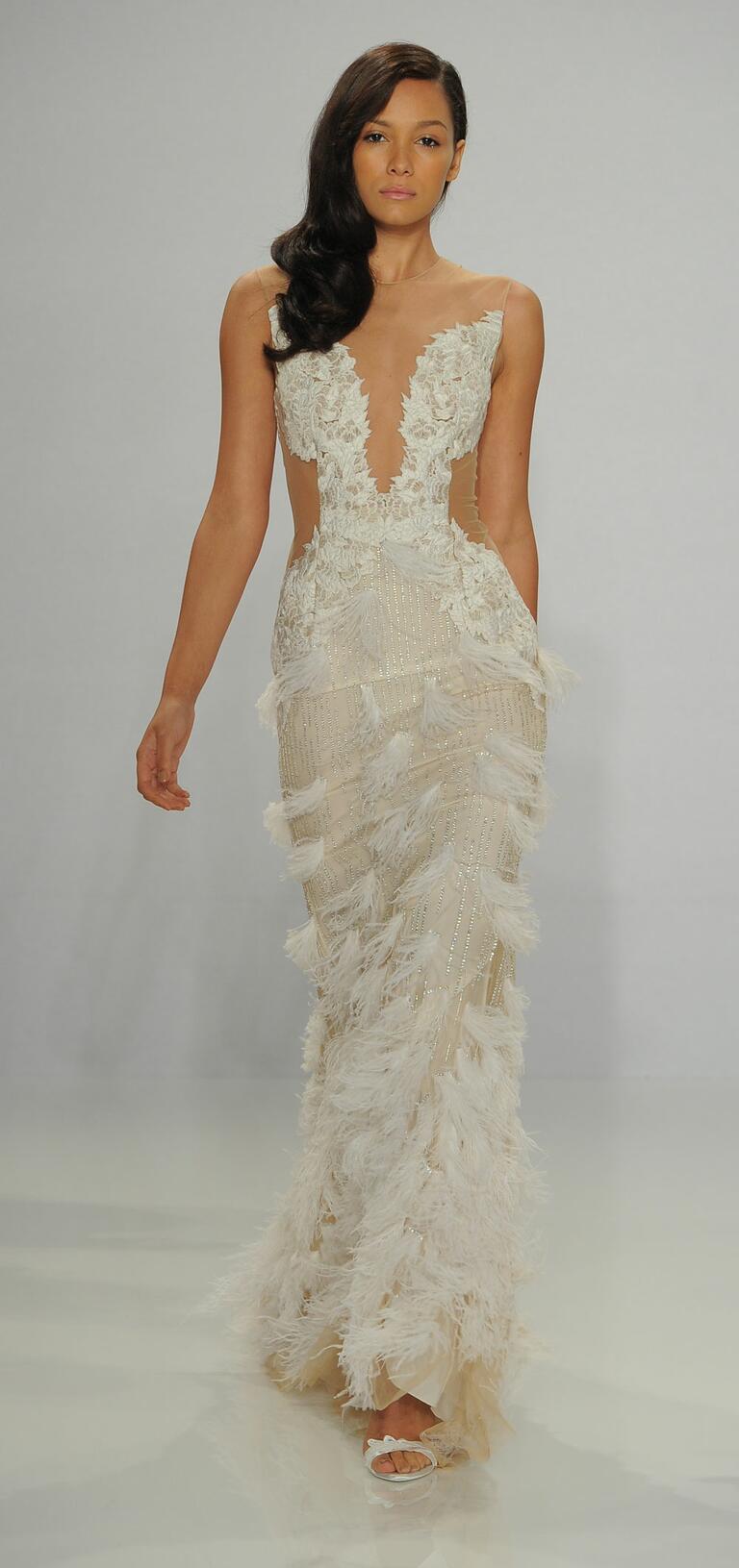 Christian Siriano Spring 2017 feather illusion wedding dress