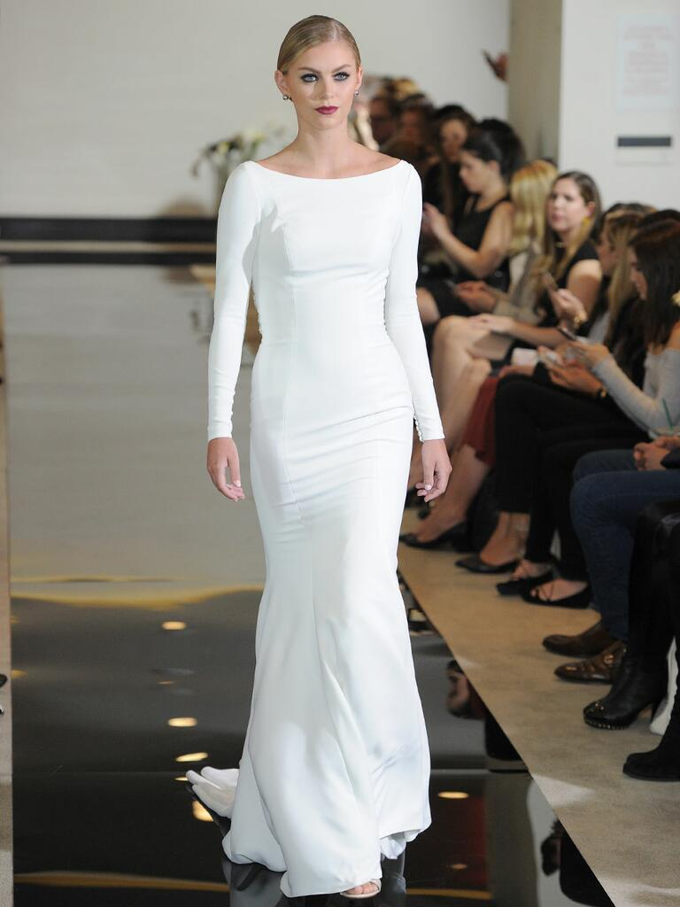 Justin Alexander Spring 2018 crepe long sleeve wedding dress with beaded illusion back