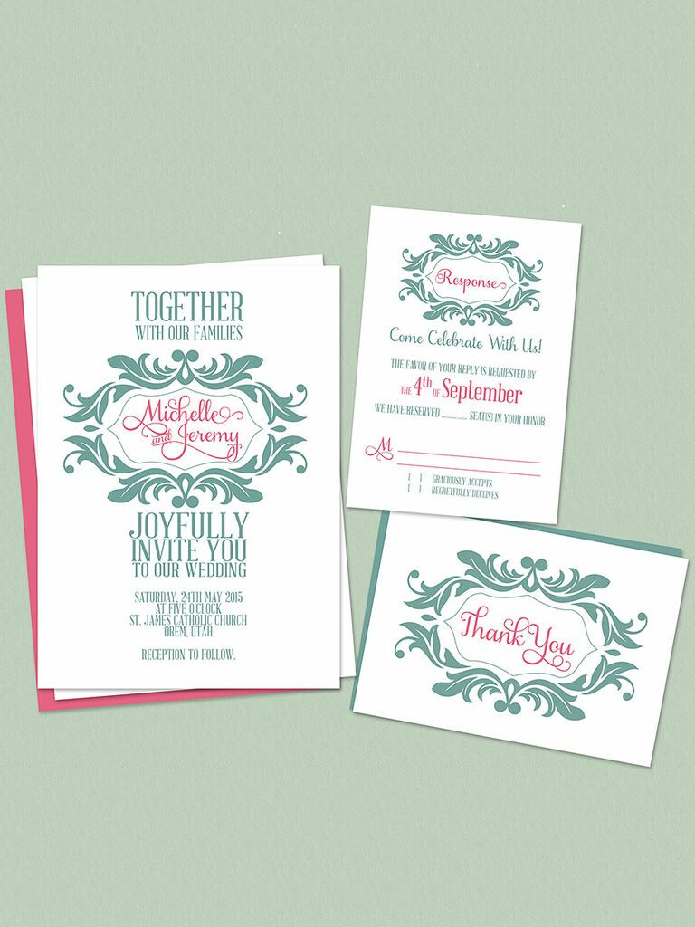 Pintable Mint And Pink Wedding Invitations