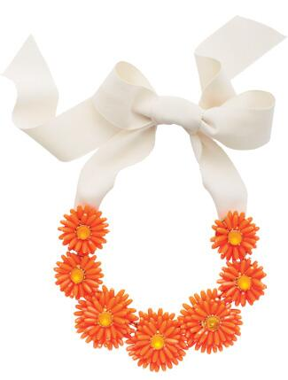 Orange Beaded Flower Necklace