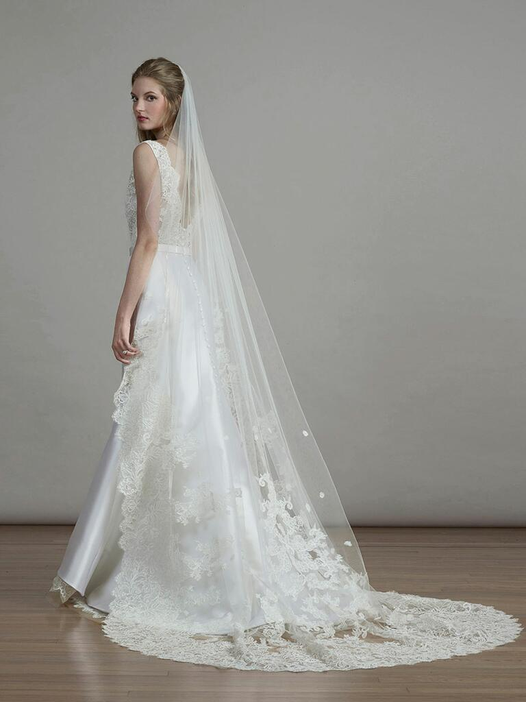 Liancarlo Spring 2018 lace A-line wedding dress with veil