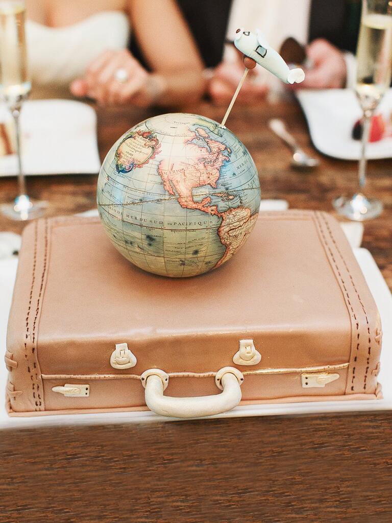 Globe and luggage travel-themed groom's cake idea