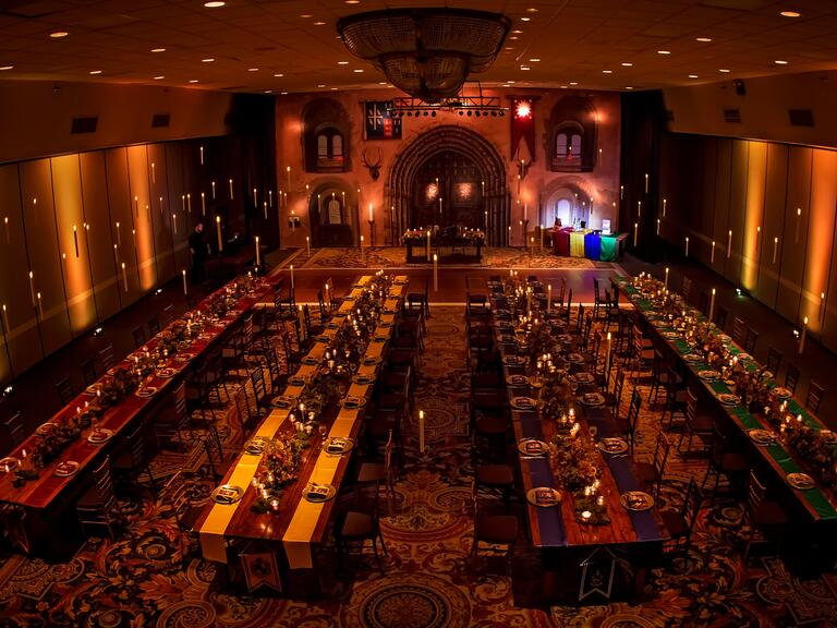 The Harry-Potter themed reception area features long tables
