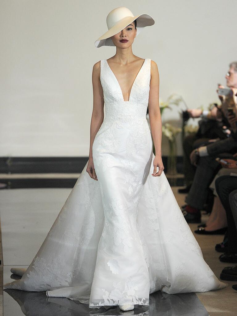 Justin Alexander Spring 2018 Jacquard gown with square V-neck and detachable train