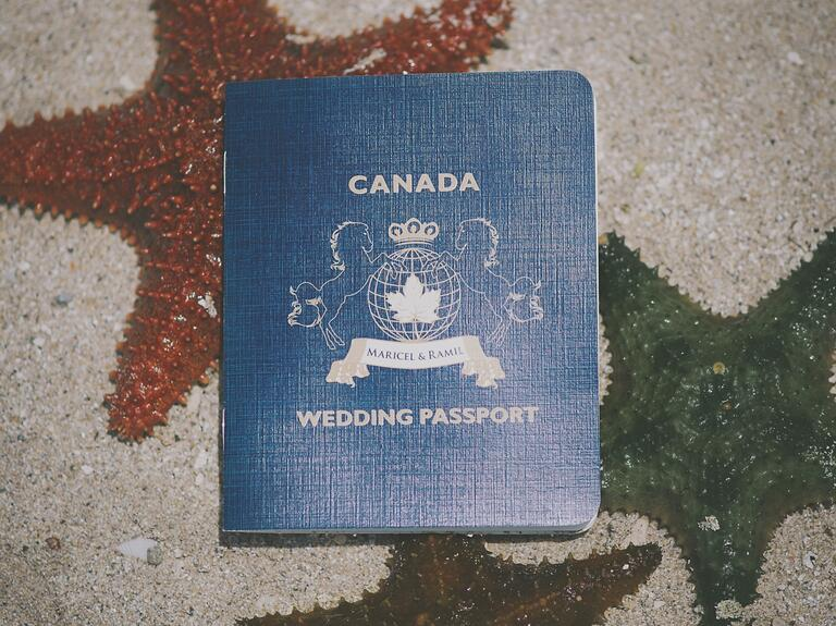 Passport-themed destination wedding save-the-dates