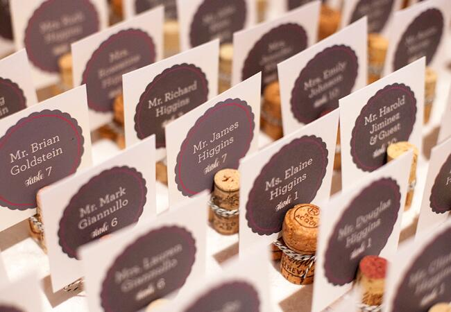 Wedding decor with wine corks: Hal Horowitz Photography / TheKnot.com