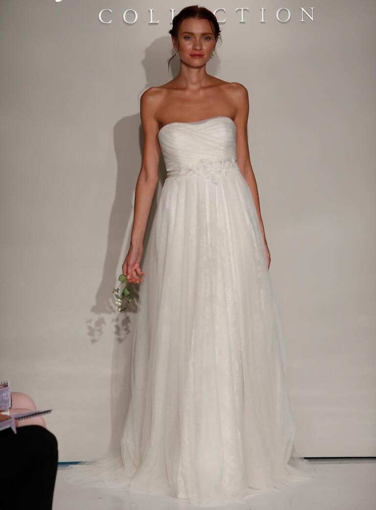 Jenny Yoo Fall 2016 wedding dress with straight strapless neckline and beaded belt with flowing skirt