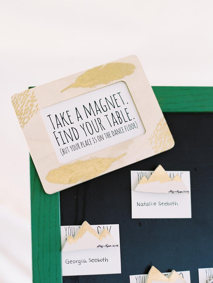 Emerald and gold magnetic escort board