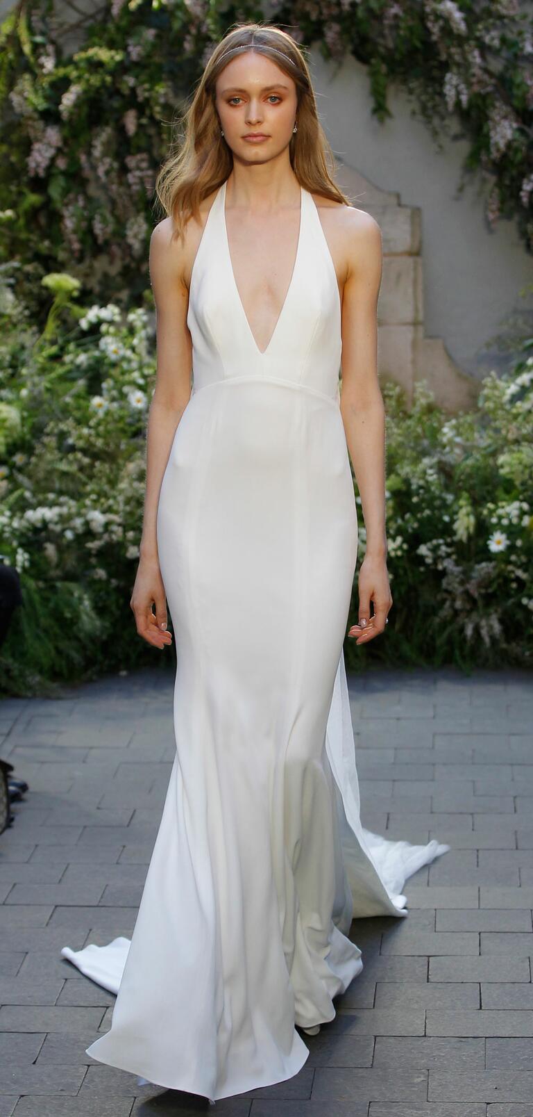 monique lhuillier bridal fashion week spring plunge wedding dress Monique Lhuillier Spring silk white crepe wedding dress with plunging V neck halter