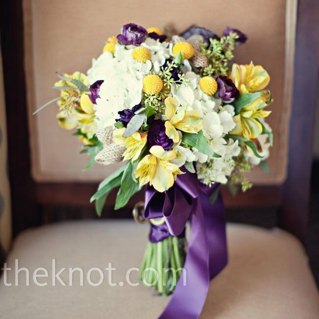 White, Yellow, And Purple Bouquet