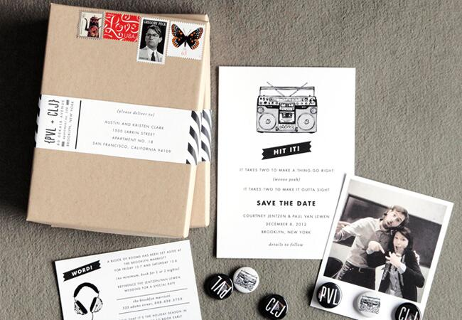 Swiss Cottage save the date/ The Knot blog