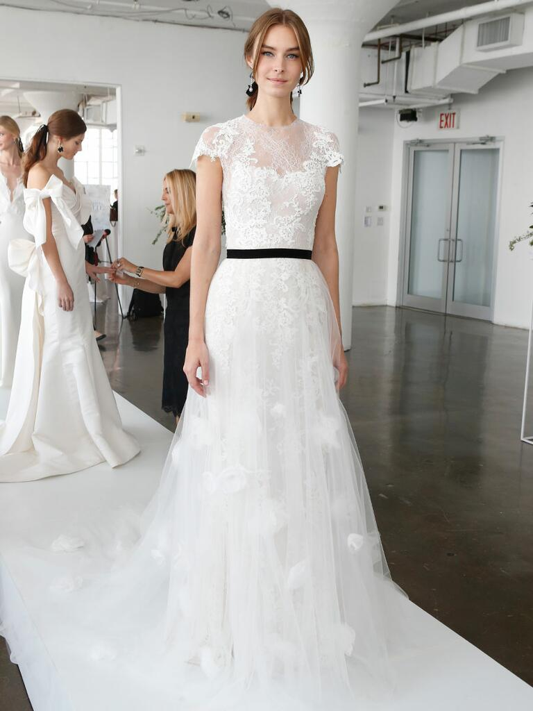 Marchesa Spring 2018 A-line wedding gown with lace cap sleeves and black sash