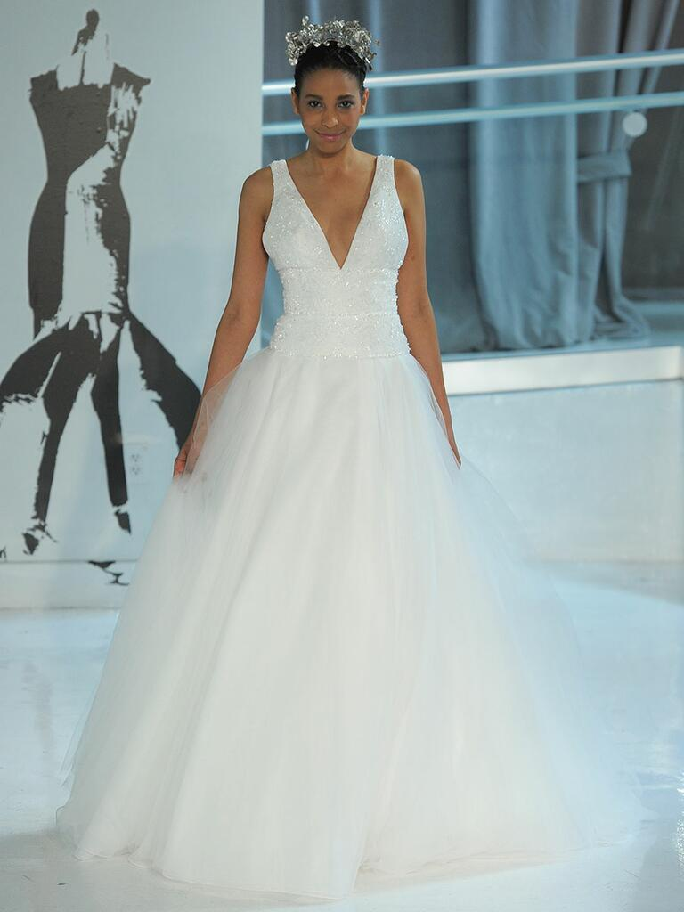 Peter Langner Spring 2018 plunging neckline wedding dress with tulle skirt