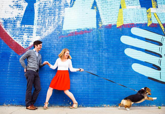 Engagement Couple with Dog