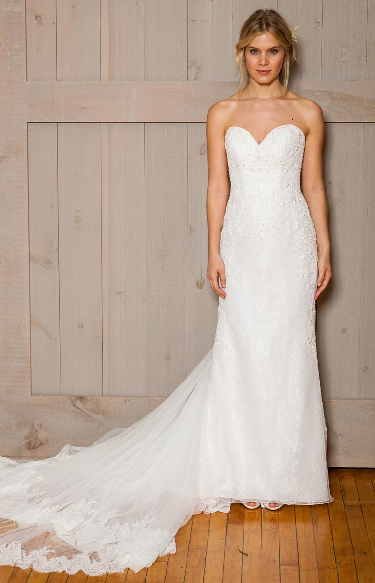 David's Bridal Fall 2016 strapless sweetheart neckline wedding dress with lace trimmed train