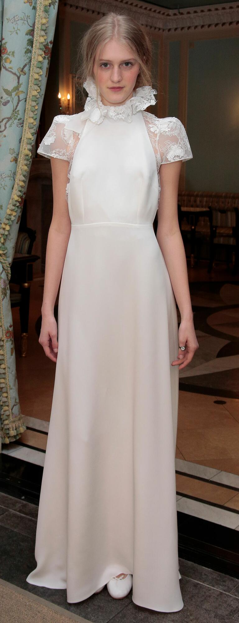 Delphine Manivet's Spring 2017 satin column wedding dress with high lace collar illusion cap sleeves and