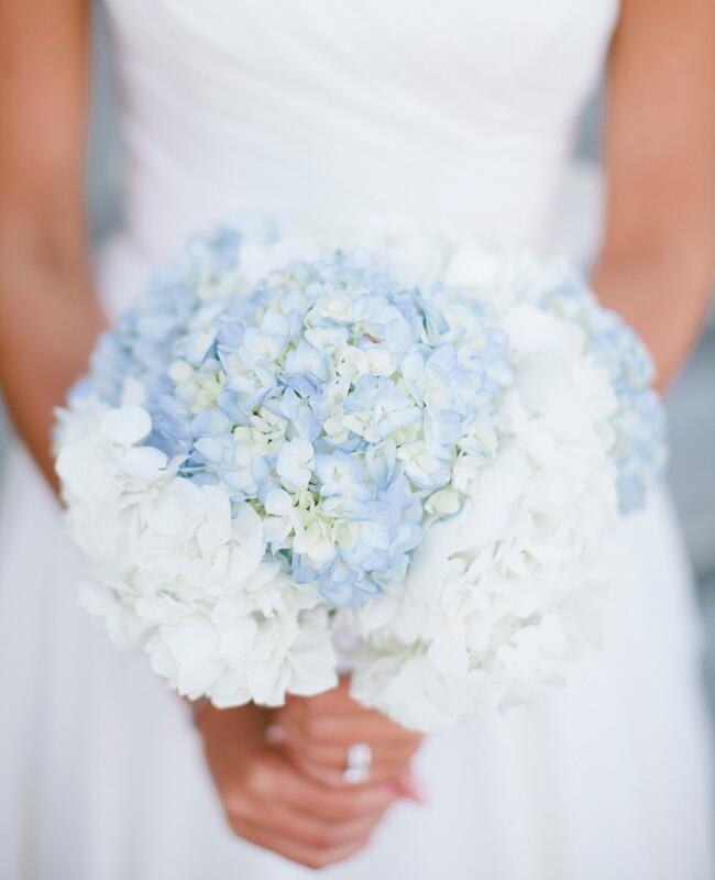A Pastel Blue Hydrangea Bridal Bouquet | Keepsake Memories Photography | Blog.TheKnot.com