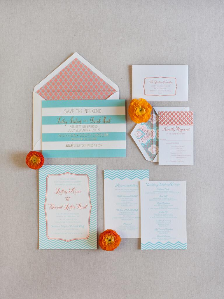 Turquoise and coral invitations