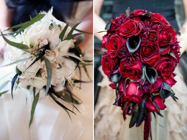 Halloween themed wedding bouquets