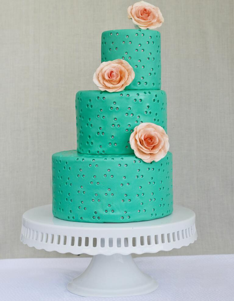 Sea-foam green staircase wedding cake