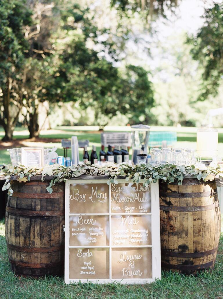 Beer kegs at a wedding
