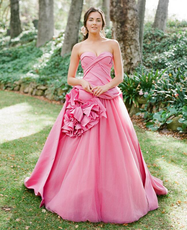 Vera Wang pink wedding gown | Jose Villa | blog.theknot.com