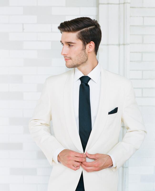 Zegna tux pants and Brooks Brothers jacket | Corbin Gurkin | blog.theknot.com