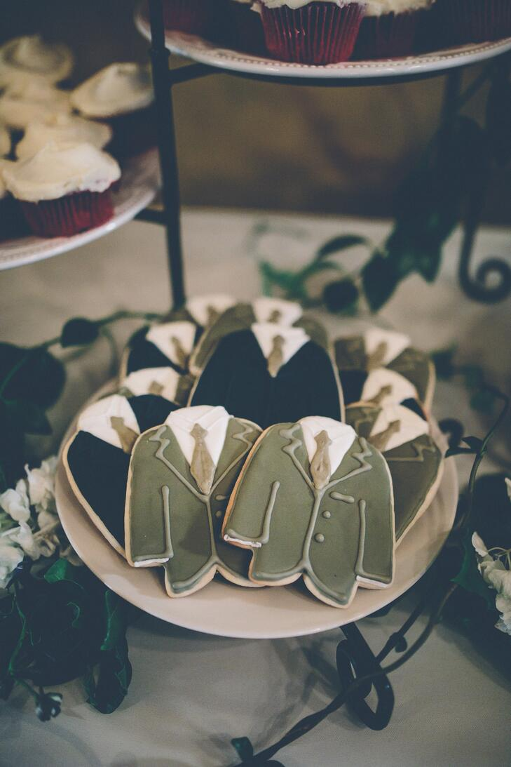 Suit and tie decorated sugar cookies at a wedding