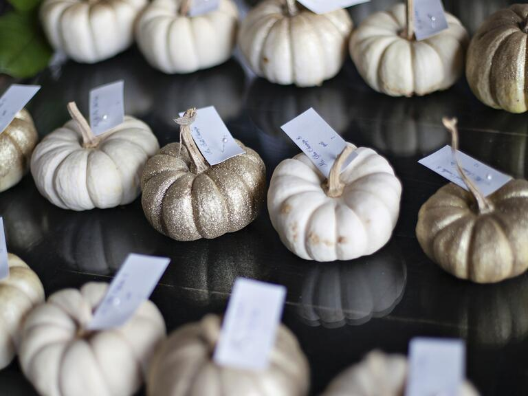 White and gold mini pumpkin escort card display