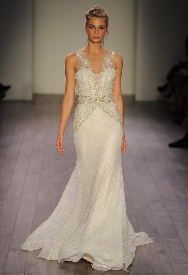 Lazaro Spring 2016 illusion sleeve A-line beaded wedding dress