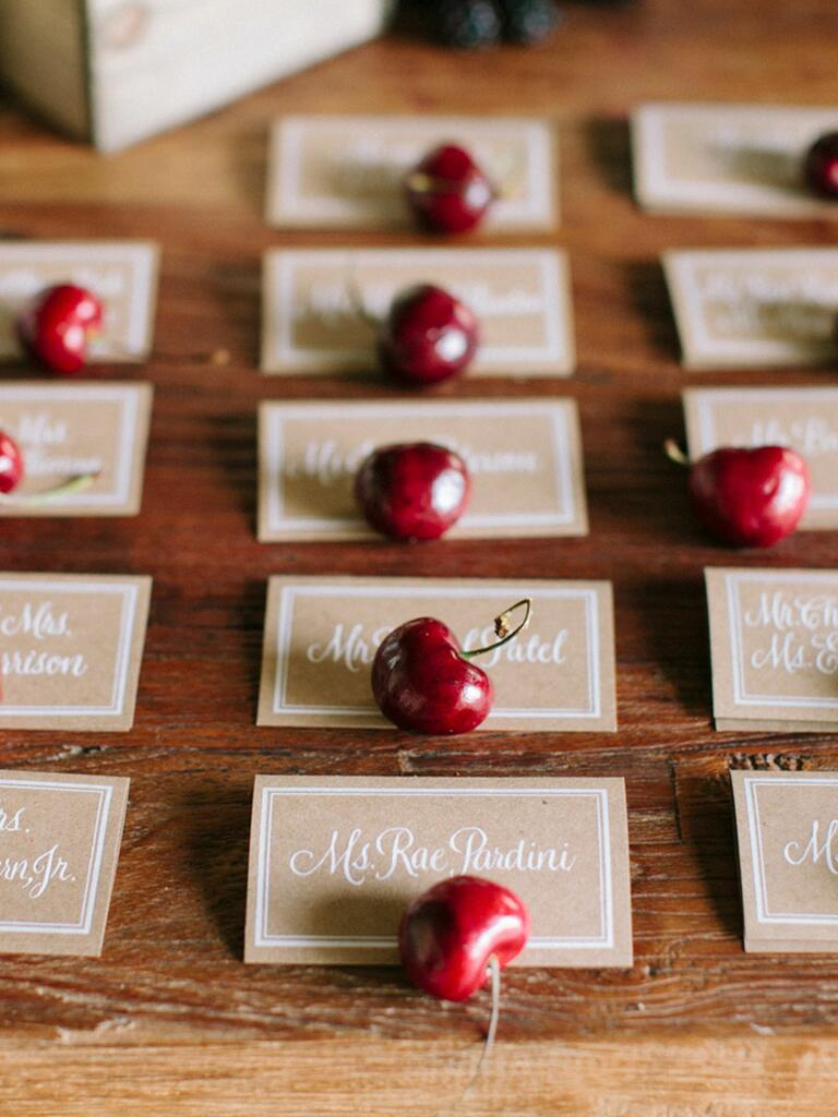 Fresh cherry escort card idea
