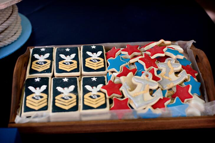 Military-themed wedding sugar cookies