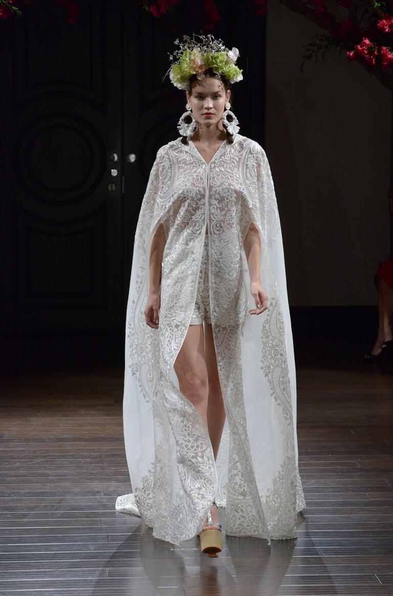 Naeem Khan Fall 2016 embroidered lace mini wedding dress with floor-length cape