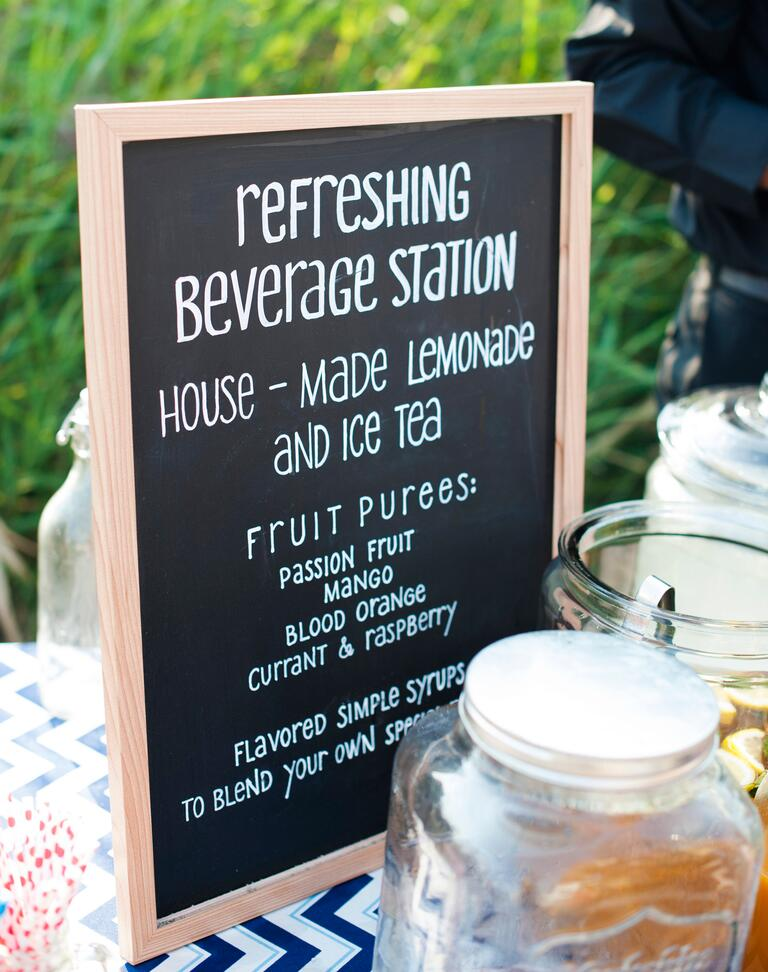 Chalkboard drink menu sign for lemonade bar at wedding reception