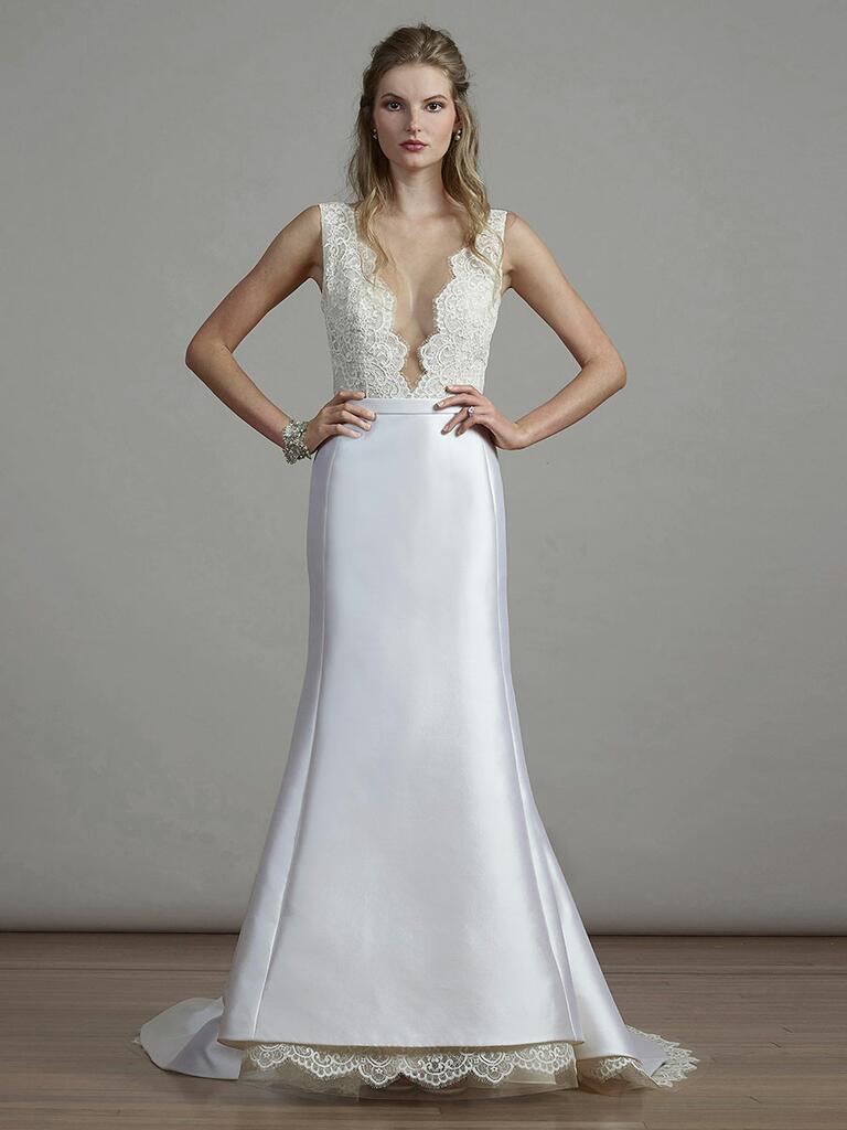 Liancarlo Spring 2018 trumpet wedding dress with plunging neckline