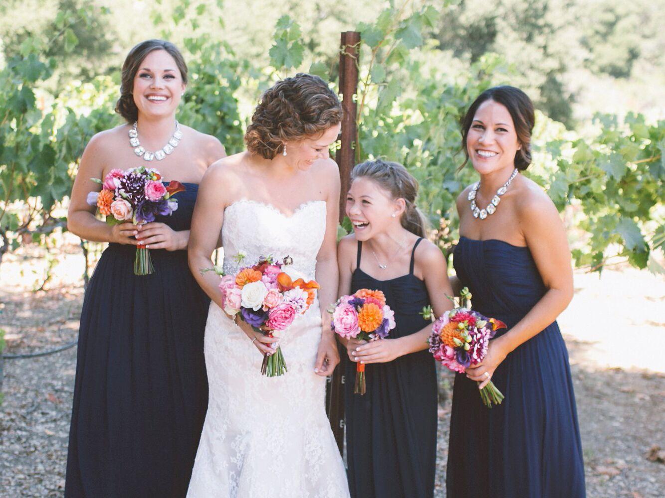 Junior bridesmaid her duties in detail bridesmaids and junior bridesmaids portrait with bride at vineyard wedding ombrellifo Image collections