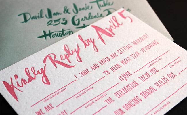 Mad Lib Watercolor RSVP Card
