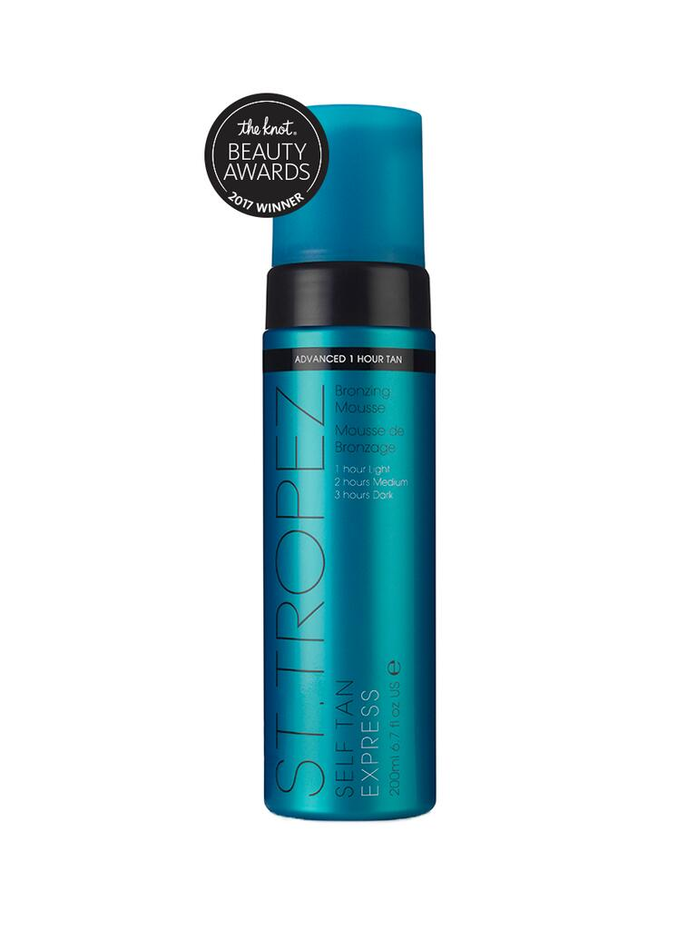 The Knot pick for best self tanner is the St. Tropez Tan Self Tan Express advanced bronzing mousse