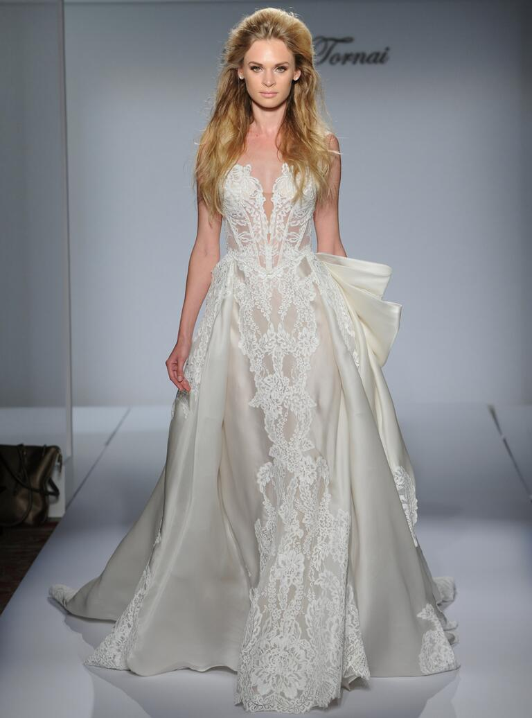 Wedding Pnina Wedding Dresses pnina tornai fall 2016 collection wedding dress photos lace with structured illusion bodice and satin overskirt from 2016